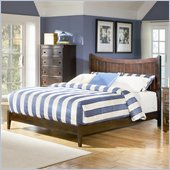 Atlantic Furniture Manhattan Platform Bed with Open Footrail in Antique Walnut