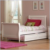 Atlantic Furniture Platform Sleigh Bed in White Finish