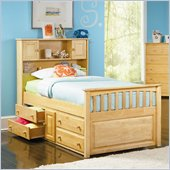 Atlantic Furniture Captain's Bookcase Bed with Underbed 4 Drawer Chest in Natural Maple