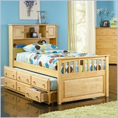 Atlantic Furniture Captain's Bookcase Bed with 3 Drawer Trundle in Natural Maple