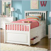 Atlantic Furniture Mate's Storage Bed with Underbed 4 Drawer Chest in White