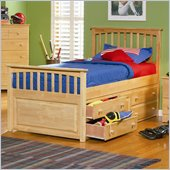 Atlantic Furniture Mate's Storage Bed with Underbed 4 Drawer Chest in Natural Maple