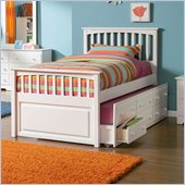 Atlantic Furniture Mate's Storage Bed with 3 Drawer Trundle in White