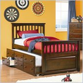Atlantic Furniture Mate's Storage Bed with 3 Drawer Trundle in Antique Walnut