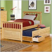 Atlantic Furniture Mate's Storage Bed with 3 Drawer Trundle in Natural Maple