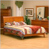 Atlantic Furniture Bordeaux Full Platform Bed with Open Footrail in Light Cherry