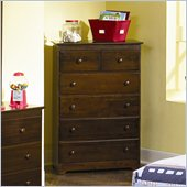 Atlantic Furniture Windsor 55 Inch 5 Drawer Chest in Antique Walnut