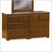 Atlantic Furniture Windsor 6 Drawer Double Dresser in Antique Walnut