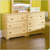 Atlantic Furniture Windsor 6 Drawer Double Dresser in Natural Maple