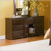 Atlantic Furniture Windsor 7 Drawer Double Dresser in Antique Walnut