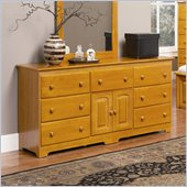 Atlantic Furniture Windsor 7 Drawer Double Dresser in Caramel Latte