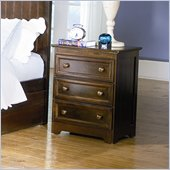 Atlantic Furniture Manhattan 3 Drawer Nightstand in Antique Walnut