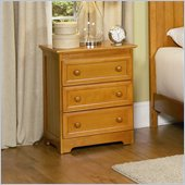 Atlantic Furniture Manhattan 3 Drawer Nightstand in Caramel Latte