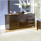 Atlantic Furniture Manhattan 7 Drawer Triple Dresser in Antique Walnut