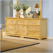 Atlantic Furniture Manhattan 7 Drawer Triple Dresser in Natural Maple