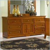 Atlantic Furniture Manhattan 7 Drawer Triple Dresser in Light Cherry