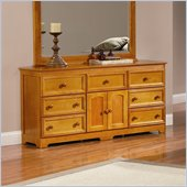 Atlantic Furniture Manhattan 7 Drawer Triple Dresser in Caramel Latte