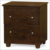 Atlantic Furniture Miami 2 Drawer Nightstand in Antique Walnut