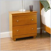 Atlantic Furniture Miami 2 Drawer Nightstand in Caramel Latte