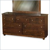 Atlantic Furniture Miami 7 Drawer Double Dresser in Antique Walnut