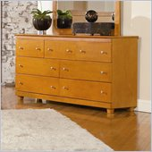 Atlantic Furniture Miami 7 Drawer Double Dresser in Caramel Latte
