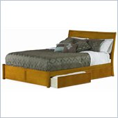 Atlantic Furniture Studio Portland Platform Bed with Flat Panel Footboard in Caramel Latte