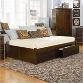 Atlantic Furniture Concord Flat Panel Wood Daybed in Antique Walnut