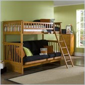 Atlantic Furniture Columbia Twin over Futon Bunk Bed in Caramel Latte