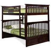 Atlantic Furniture Columbia Full over Full Bunk Bed in Antique Walnut