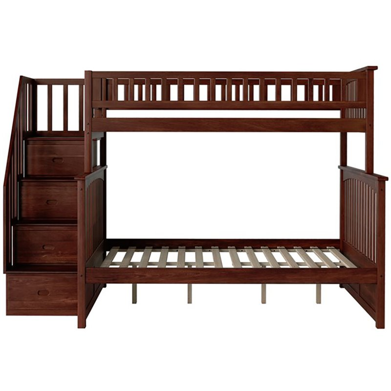 Atlantic Furniture Columbia Staircase Bunk Bed Twin Over Full Antique ...