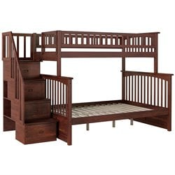 Atlantic Furniture Columbia Twin Over Full Bunk Bed in Antique Walnut