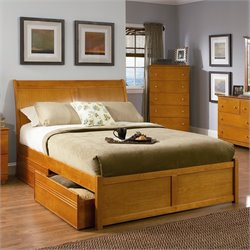 Atlantic Furniture Bordeaux Platform Bed with Flat Panel Footboard in Caramel Latte