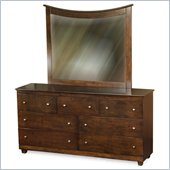 Atlantic Furniture Miami 7-Drawer Dresser and Mirror Set in Walnut