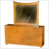 Atlantic Furniture Miami 7-Drawer Dresser and Mirror Set in Caramel
