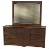 Atlantic Furniture Manhattan Dresser and Mirror Set in Walnut