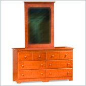 Atlantic Furniture Windsor Dresser and Mirror Set in Caramel