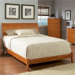 Atlantic Furniture Bordeaux Platform Bed with Open Footrail in Caramel Latte