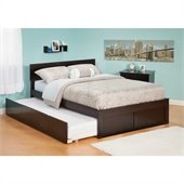 Atlantic Furniture Orlando Platform Bed with Flat Panel Footboard and Trundle Set in Espresso