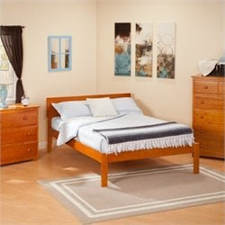 Atlantic Furniture Orlando Bed with Open Foot Rail in Caramel Latte