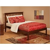 Atlantic Furniture Mission Bed with Open Foot Rail in Antique Walnut