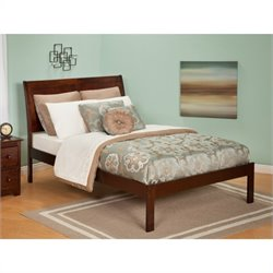 Atlantic Furniture Portland Bed with Open Foot Rail in Antique Walnut