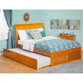 Atlantic Furniture Portland Bed with Urban Trundle in Caramel Latte