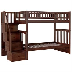 Atlantic Furniture Columbia Staircase Bunk Bed Twin Over Twin in Antique Walnut
