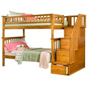 Atlantic Furniture Columbia Staircase Bunk Bed Twin Over Twin in Caramel Latte