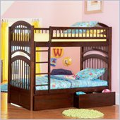 Atlantic Furniture Windsor Bunk Bed Twin Over Twin in Antique Walnut