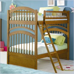Atlantic Furniture Windsor Bunk Bed Twin Over Twin in Caramel Latte