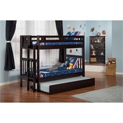 Atlantic Furniture Cascade Bunk Bed in Espresso with Trundle Bed