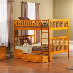 Woodland Bunkbed with 2 Raised Panel Bed Drawers in Caramel