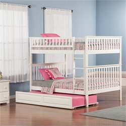 Woodland Bunkbed with Twin Raised Panel Trundle Bed in White