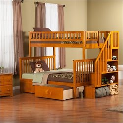 Woodland Stair Bunk Bed with 2 Urban Lifestyle Bed Drawers in Caramel